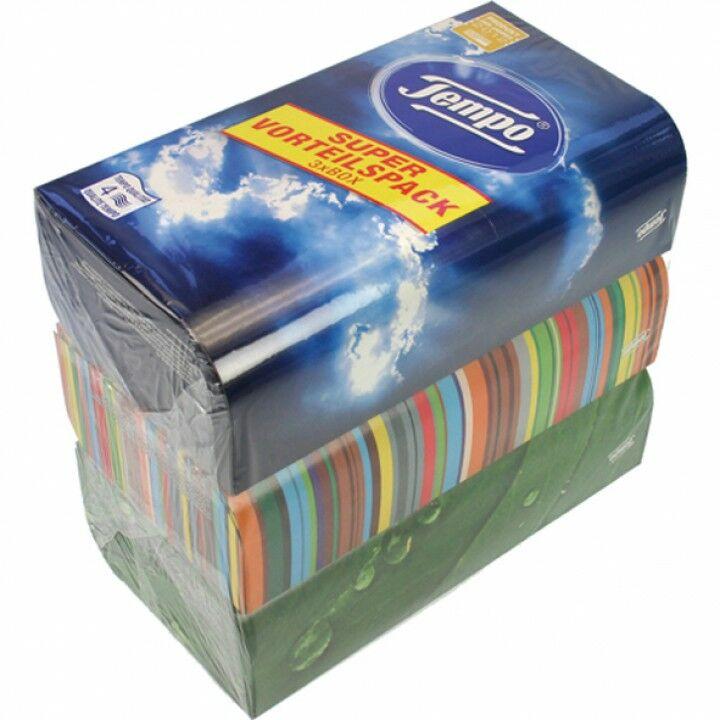 Tücher Waschmaschinenfest OVP 3x80 Tempo Original Box Taschentücher 4-lagig